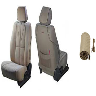 Musicar Maruti Eeco Beige Leatherite Car Seat Cover with 1 Year Warranty And Steering cover  Free