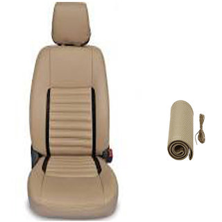 Musicar Maruti Alto K10 Beige Leatherite Car Seat Cover with 1 Year Warranty And Steering Rest Free