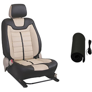 Musicar Hyundai Eon Beige Leatherite Car Seat Cover with 1 Year Warranty And Steering cover Free