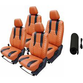 Musicar Volkswagen Polo Orange Leatherite Car Seat Cover With 1 Year Warranty And Steering Free