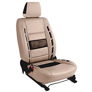 Autodecor Hyundai Xcent Beige Leatherite Car Seat Cover with Neck Rest  Free