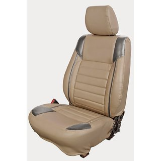 Autodecor Maruti  Vitara Brezza Beige Leatherite Car Seat Cover with Neck Rest  Free