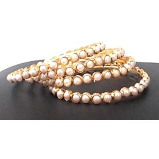 Wow Womaniya Pearl studded bangles(Set of 4 bangles)