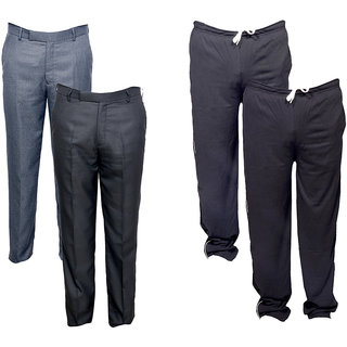 Indiweaves Mens 2 Rayon Formal Trousers and 2 Lower/Track Pants Combo Offer (Pack of 4)_Gray::Gray::Black::Black_Size: 38 Lower- Free Size