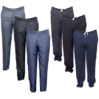 IndiWeaves Mens 3 Rayon Formal Trousers and 3 Lower/Track Pants Combo Offer (Pack of 6)_Black::Black::Blue::Grey::Grey::Blue_Size: 38 Lower- Free Size