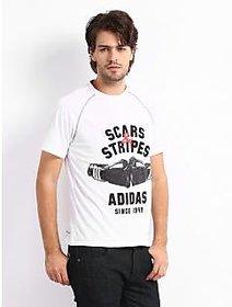 Adidas Men White Printed T Shirt