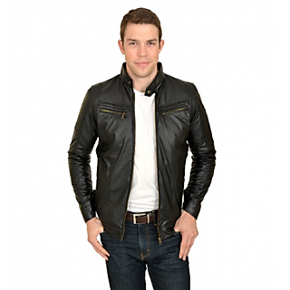 Urbano Fashion Black Faux Leather Casual Jacket