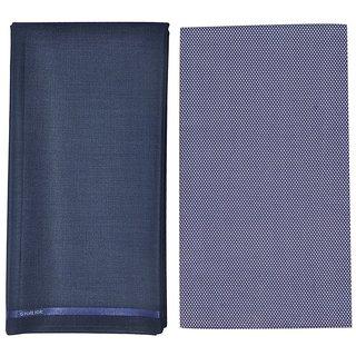 6958026d573 Kundan Sulz Gwalior Men s Executive Pure Cotton Printed Shirt Piece   Fancy  Navy Blue Formal Trouser