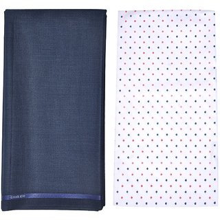 Kundan Sulz Gwalior Men's Executive Pure Cotton Printed Shirt Piece & Fancy Navy Blue Formal Trouser Fabric Combo Set ( 1 Pant and Shirt Piece for Men )