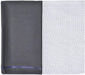 Kundan Sulz Gwalior Men's Executive Pure Cotton Printed Shirt Piece & Fancy Rusty Grey Formal Trouser Fabric Combo Set ( 1 Pant and Shirt Piece for Men )
