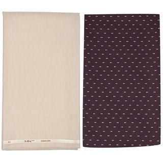 Kundan Sulz Gwalior Menu0027s Executive Pure Cotton Printed Shirt Piece U0026 Fancy  Beige Formal Trouser Fabric Combo Set ( 1 Pant And Shirt Piece For Men )