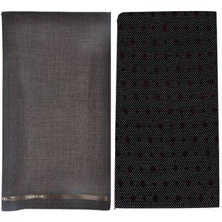 Kundan Sulz Gwalior Men's Executive Pure Cotton Printed Shirt Piece  Dark Brown Fancy Formal Trouser Fabric Combo Set ( 1 Pant and Shirt Piece for Men )