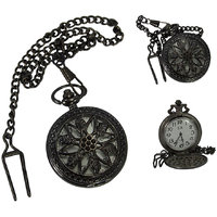 Handmade Vintage Beautiful Flower Design Pocket Watch With Long Chain