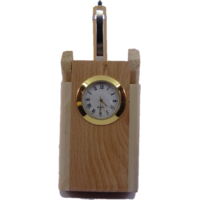 Wooden Pen Stand Pen Holder With Clock Watch Pen Corporate Gift Office Use