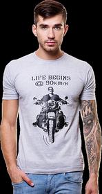 Enquotism Men's Grey Round Neck T-Shirt