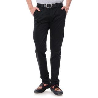 Balino London Black Slim Fit Casual Trouser for Men