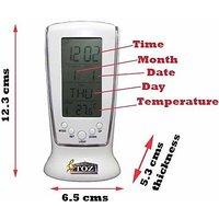 Square LCD Multifunctional Digital Clock Calendar Alarm Thermometer 510 White