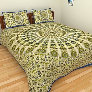 Spangle Traditional Hand Printed Cotton Sanganeri King Size  Bedsheet with two Pillow Cover