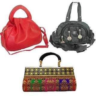 Estoss Handbag Combo of 3 Red Hand Purse Multicolor Party Clutch Black Sling Bag