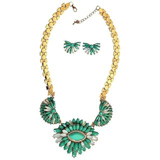Style Green Flower Necklace with Ear rings Pendant Choker Free size NEC22GrnFlrn