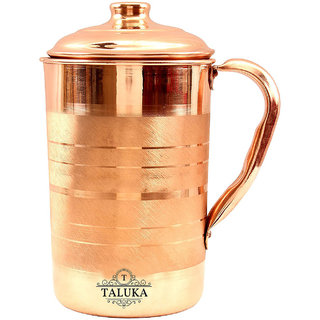 Taluka Handmade Pure Copper Jug Pitcher For Storage  Serving Water Good Health Benefits Indian Yoga, Ayurveda 1700 ML