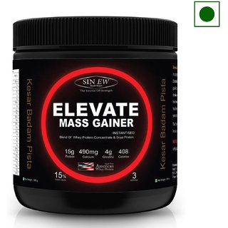 Sinew Nutrition Elevate Mass Gainer with DigiEnzymes, 3-1 Ratio (carb-protein), 300g Kesar Badam Pista