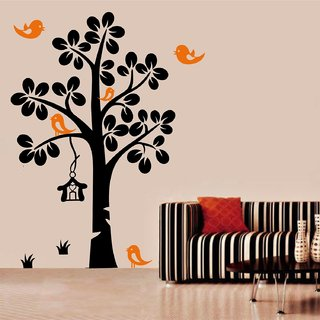 Asmi Collections PVC Wall Stickers Black Tree Orange Birds Nest