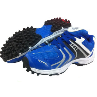 Port Mens Synthetic PVC Blue Rezzer Rubber Stud Cricket Shoes