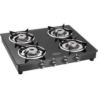 Padmini 4 Burner Gas Stove - Cs 4Br Cloud Crystal Black