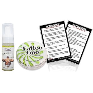 Tattoo Goo Original Tattoo After Care Ointment Cleaning Soap and After Care Instruction Card,0.75oz