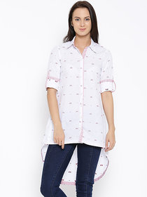 White Patterned High-Low Tunic Shirt