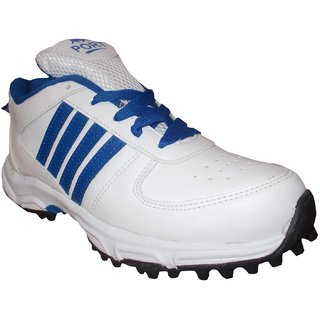 Port Mens BOOSTER White Synthetic PVC Cricket Shoes with Rubber Studs