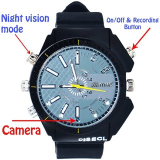 M MHB SPY Full HD Wrist 1920*1080 Wrist Watch Plus Night vision Hidden Audio /video recording. While recording no light Flashes Wrist Watch Camera Inbuild 16GB memory.