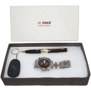 MMHB SPY COMBO OFFER WRISTWATCH Camera + PEN Camera + KEYCHAIN Camera . 3 IN 1 SPECIAL OFFER BY MMHB BRAND 16GB WRISTWATCH + 32 GB SUPPORTABLE PEN AND KEYCHAIN HURRY LIMITED OFFER.