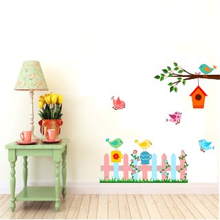 Asmi Collections PVC Wall Stickers Tree Branch Birds Nests