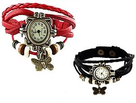 Butterfly ladies watch Combo Vintage Design Watches (BLACK  RED) Crazy OnlineA