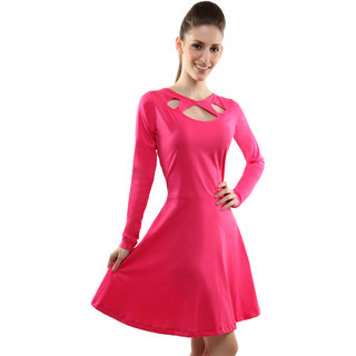 Miss Chase Women S Pink Round Neck Full Sleeves Bodycon Dresses Plain  Cotton Dresses e9509c4a8