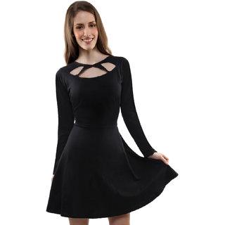 Miss Chase Women S Black Round Neck Full Sleeves Bodycon Dresses Plain  Jersey Dresses b2c9568df
