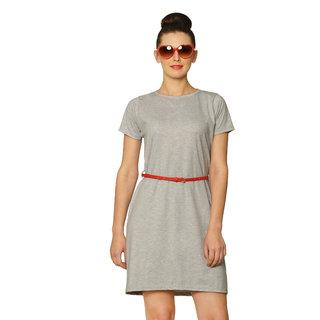 Miss Chase Women'S Gray Round Neck Cap Sleeves Midi Dress Plain Jersey Dresses