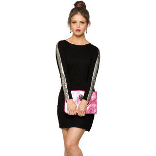 61aac4c0fa1c Miss Chase Women S Black Boat Neck Cap Sleeves Bodycon Dresses Plain Cotton  Dresses