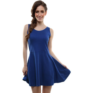 1074eacaf68a Buy Miss Chase Women S Blue Round Neck Sleeveless Bodycon Dresses Plain Cotton  Dresses Online - Get 55% Off