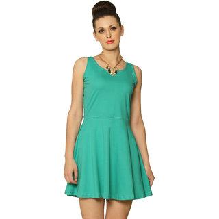 Miss Chase Women'S Mint Round Neck Sleeveless Skater Plain Jersey Dresses