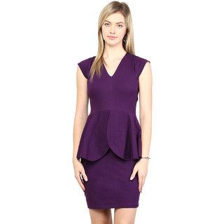 Miss Chase Women'S Purple V-Neck Half Sleeves Bodycon Dresses Plain Crepe Dresses