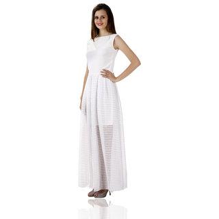 Miss Chase Women'S White Boat Neck Sleeveless Midi Dress Plain Crepe Dresses