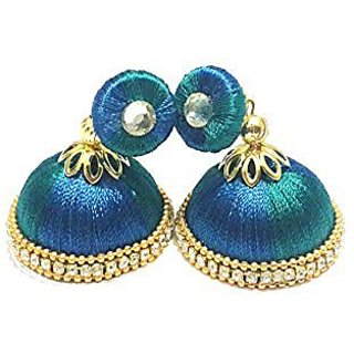 Silk thread jumkha ear rings ( medium size)