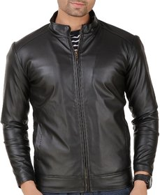 Leather Retail Black Faux Leather Jacket with Fur Lining