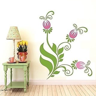Asmi Collections Wall Stickers Beautiful Floral Pink Flowers