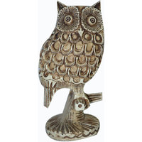 Beautiful White Resin Fine Carved Owl Bird Statue/Figurine Home Decor/Collectibl