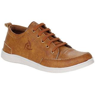 buy kraasa casual tan laceup synthetic pvc sneakers