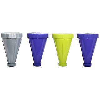 PowderJet Protein Storage Funnel Pack of 4 Blue Lime Silver
